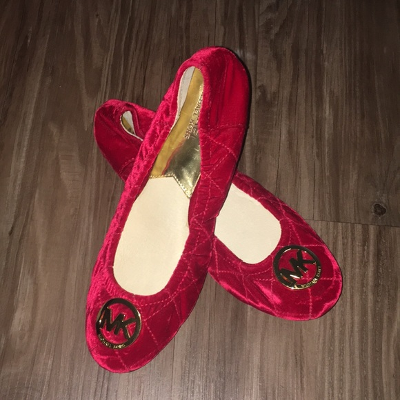 fad4b1c4fea NEW red Michael Kors Quilted Fulton Ballet Flats
